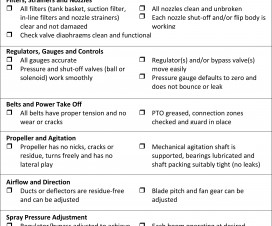 Airblast sprayer inspection checklist
