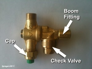 A typical brass roll-over style dual nozzle body with Cap and optional check valve.