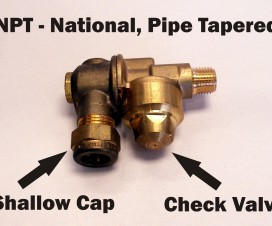 National, Pipe Tapered (NPT) single-sided, brass roll-over nozzle body with check valve. Note the shallow cap pictured here.