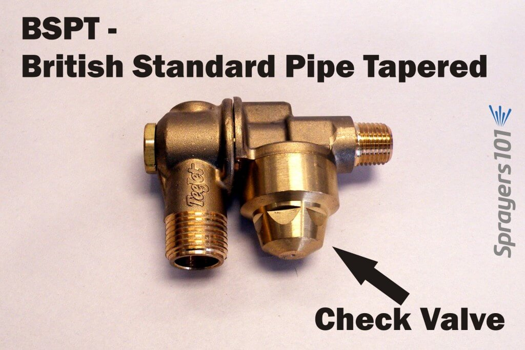 British Standard, Pipe Tapered (BSPT) single-sided, brass roll-over nozzle body with a check valve.