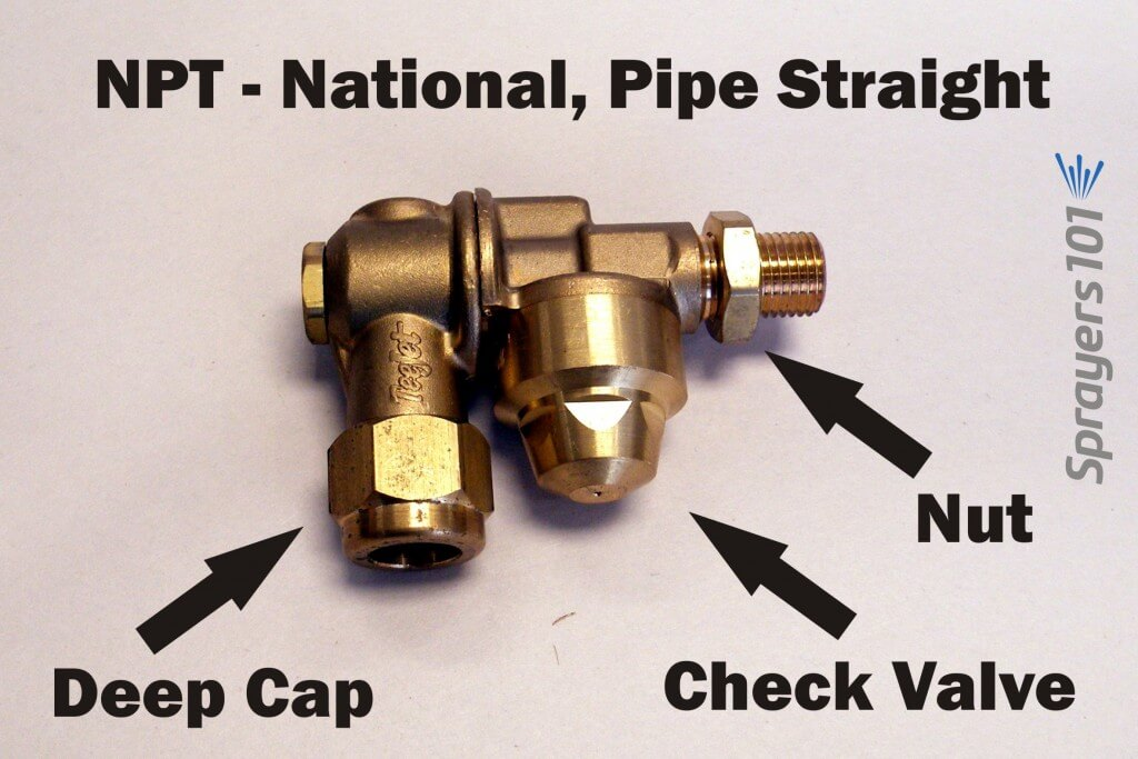 National, Pipe Straight (NPS) single-sided, brass roll-over nozzle body with check valve. Note the deep cap pictured here.