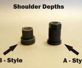 Moulded hollow cone nozzles come in the thin shoulder (A-style) or thick shoulder (B-style) varieties. The B-style is the ISO standard and is preferred.