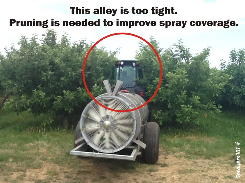 If the canopy is brushing against the tractor, it may intercept spray before it expands fully. Essentially, it temporarily blocks nozzles.
