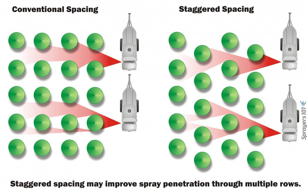 This is speculative, but the when nursery shrubs, trees and container crops are planted in perfect grids, mutual shading probably prevents spray from penetrating deeply into the planting. By staggering the spacing, spray may be able to penetrate more easily between rows. This can be accomplished without reducing the number of plants per hectare significantly.