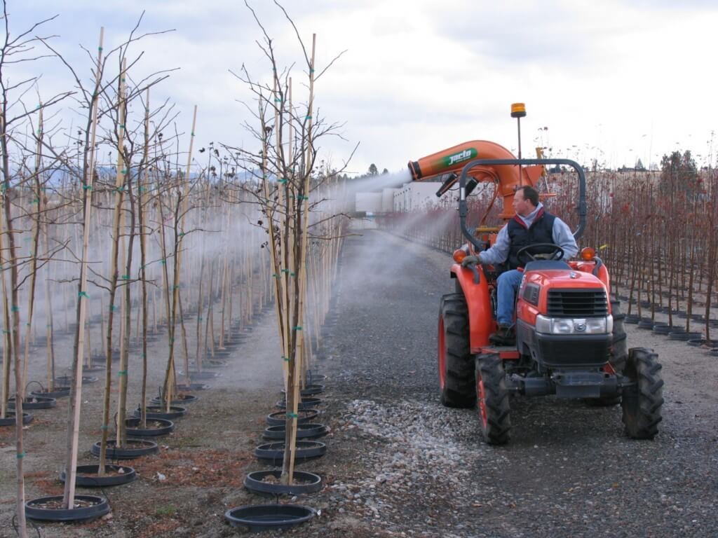 A Jacto cannon sprayer in a nursery. Many nursery and berry operations elect to spray multiple rows in one pass, but be aware that spray coverage suffers the farther away from the sprayer it goes. Independent research has shown that coverage is not reliable at half the distance typically claimed by many cannon sprayer manufacturers. This is a function of canopy density and weather. Always confirm coverage with water-sensitive paper. Photo Credit – M. Lanthier, British Columbia.