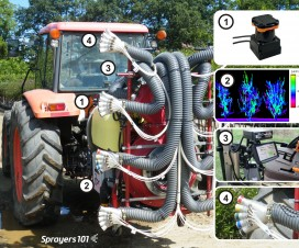 Anatomy of an Intelligent Sprayer. Dr. Heping Zhu (USDA, ARS) led a team to develop this prototype nursery sprayer that monitors crop density and adjusts air speed and nozzle rate on the fly. There is very little drift or waste and coverage is excellent. 1) LiDAR sensor for determining canopy density. 2) Software matches air and rate to the target shape, size and density. 3) Sprayer operator's control station. 4) Air outlets combined with five nozzles that use pulse-width modulation to change nozzle rate. It's not for sale yet, but perhaps in the future.