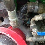 You never know what you'll find during an inspection. I found a robin's nest hidden on this vineyard sprayer's pump.""