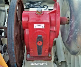 A close up of an airblast gear box. There are usually two options – high or low.