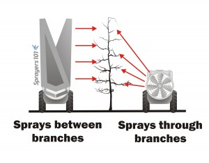 Towers may provide better coverage than conventional sprayers in orchards with horizontal scaffolding. The tower sprays between branches, penetrating more easily, while the conventional sprayer has to spray through them. Concept from K. Blagborne, British Columbia.