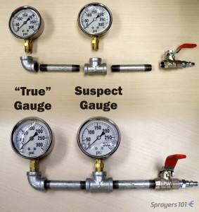 "The Pressure Gauge Tester. The ""true"" gauge is in the elbow and can be compared to the suspect gauge in the tee. Concept from K. Voege, Ontario."