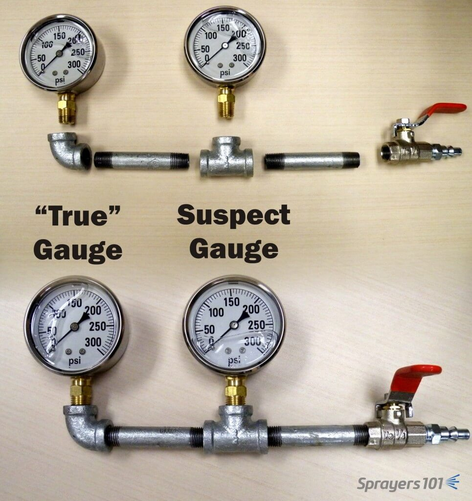 """The Pressure Gauge Tester. The """"true"""" gauge is in the elbow and can be compared to the suspect gauge in the tee. Concept from K. Voege, Ontario."""