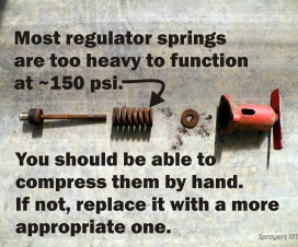 Valve springs and seats wear out, such as in this regulator assembly. Check yours each season.