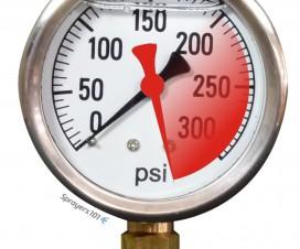 A pressure gauge spiking beyond its range.