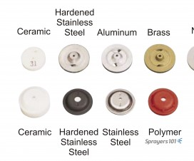 Full cone cores (top row) & discs (bottom row). All other factors being equal, the rate of tip wear depends on what it's made of. Poly and brass do not wear well under higher pressures and ceramic, while brittle, is generally held to last the longest.