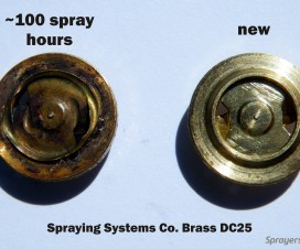 Two hollow cone nozzles on top and five full cone nozzles below. Note the lack of spray overlap with the full cones for the first few meters. This would be a concern if the target were closer to the sprayer, such as grape or berry. Also note that the top two nozzles should not be on; their spray will likely not reach the intended target.
