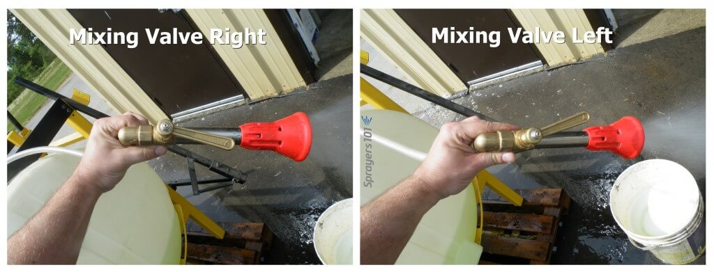 Classic Arag microjets have a mixing valve that opens the spray up into a hollow cone, or collapses it into a tight stream. This also changes the rate. It can never be shut off completely, and it's hard to adjust consistently.