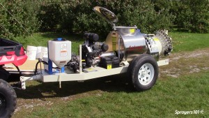 Turbomist 50 G, ATV-drawn speciality airblast sprayer.
