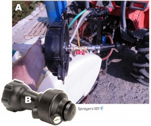 (A) Tank-rinse assembly mounted through tank lid with a flow-regulating valve. (B) Close up of tank-rinse nozzle.