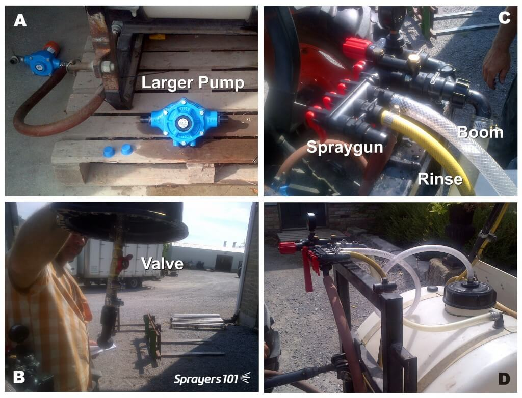 (A) Installing a high-capacity roller pump. (B) Tank-rinse nozzle, with valve, installed through tank lid. (C) Control manifold installed to plumb the return, the tank-rinse nozzle, spray gun and boom. (D) The entire installed system.