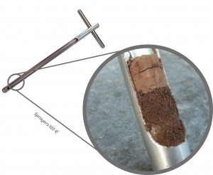 The soil probe. See how far water infiltrates soil by taking core samples.