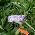 Water-sensitive paper at top of tomato canopy - easy to hit.