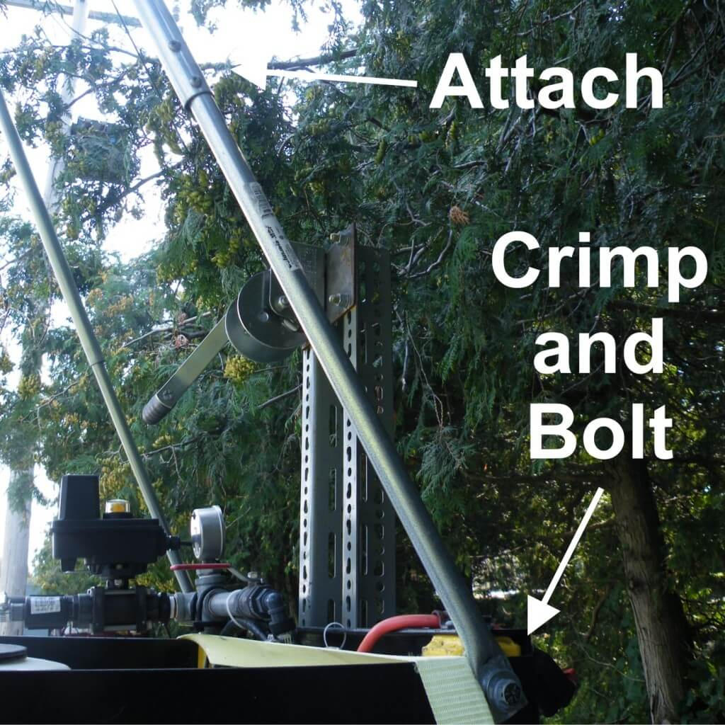 Strut attached to boom and chassis