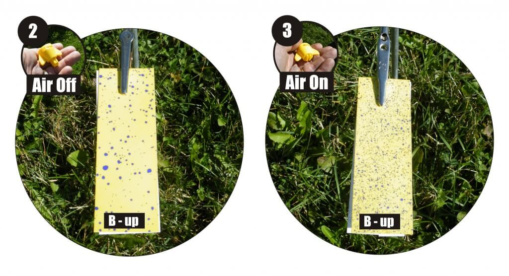 Figure 5 – Upward-facing water-sensitive paper from mid-way into the canopy (position B) for condition 2 (very coarse droplets, air off) and condition 3 (medium-fine droplets, air on). The difference in coverage is obvious.