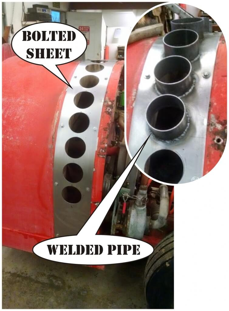 2) Welded pipe outlets for air.