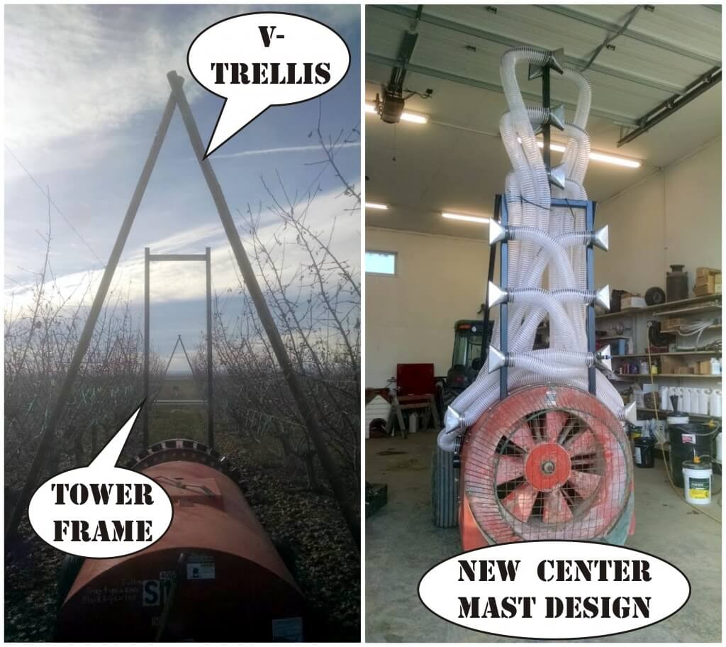 5a) Original tower frame would not clear the V-trellis. A center-mast solved the issue.