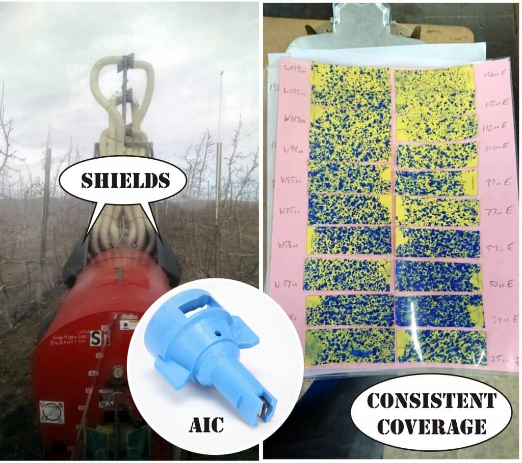 8a) Shields prevent physical impacts to AIC (air induction) nozzles. Coverage map was created for 55 gpa in a 6'x14' vertical planting.Shields prevent physical impacts to AIC (air induction) nozzles. Coverage map was created for 55 gpa in a 6'x14' vertical planting.