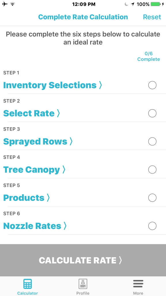 Select sprayer, operator and block from inventory, then enter spray-day data to calculate rate and sprayer settings.